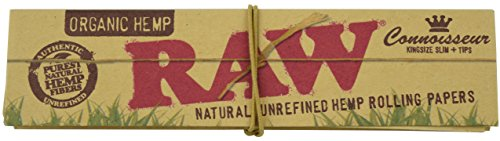 RAW Organic Connoisseur King Size Slim Rolling Papers & Tips Pack (1 Pack) (Thermography Paper)