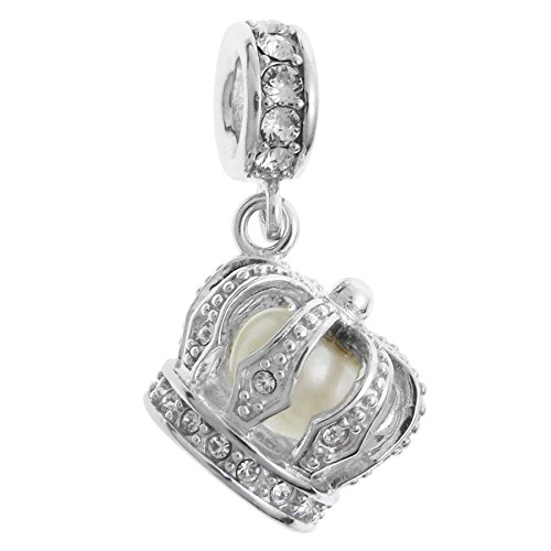 Queenberry Rhodium-plated Sterling Silver Dangle Crown with White Freshwater Cultured Pearl European Bead Charm (4.5-5mm) ()