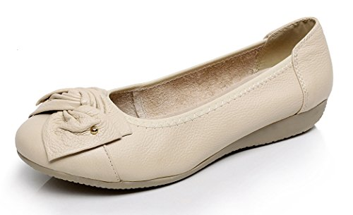 VenusCelia Women's Bows Dance Flat Shoe (8 B(M) US,Beige)