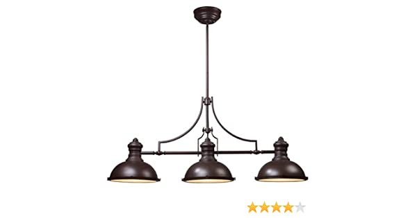 Elk lighting 66135 3 chadwick 3 light billiard light 21 inch oiled bronze island light fixtures amazon com