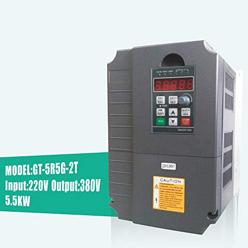 Huanyang 5.5kw 7.5hp VFD CNC Variable Frequency Drive Converter Controller 1 phase 220v input 380v 3 phase output Inverter for 5.5hp Motor ()