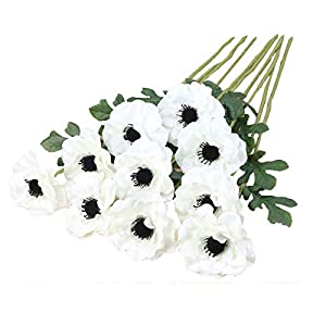 10Pcs Artifical Anemone Silk Rose Flowers with Green Foliage Bouquet Room Home Decor Wedding Holidays Decor (White)