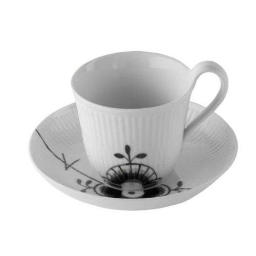 Black Fluted Mega 8.25 oz. Cup and Saucer