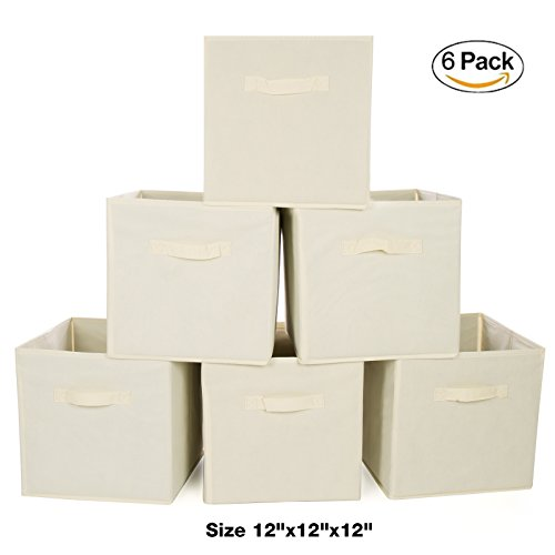Ideal Traditions Collapsible Fabric Storage Cubes – Set of 6 – (Beige) – Perfect Storage Solution for a Clutter Free Home – Include 2 Sturdy Handles – Made of Non-Woven Eco-Friendly Fabric