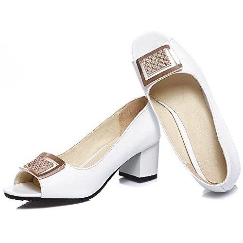 Frauen Glitter für CoolCept Sandalen Peep Schuhe Weiß Chunky Toe Party Heel YpApdgw