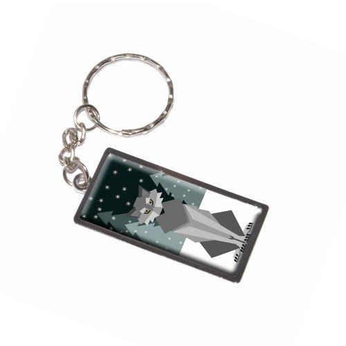 Graphics and More Geometric Winter Wolf Keychain Ring (K6046)