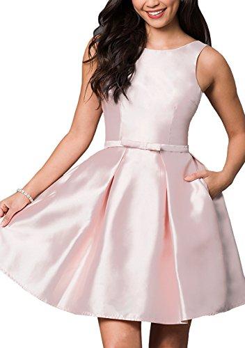 brlmall de las mujeres tripulación cuello Modesto Fancy Short Prom Vestido rosa Pearl Pink 46
