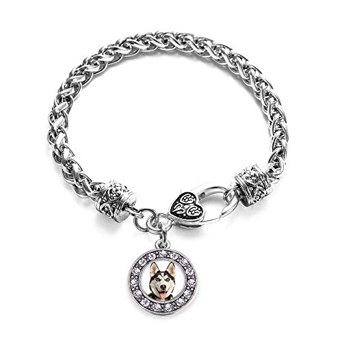 Inspired Silver - Siberian Husky Braided Bracelet for Women - Silver Circle Charm Bracelet with Cubic Zirconia Jewelry