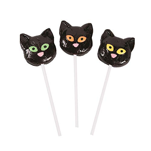 Fun Express - Black Cat Character Sucker for Halloween - Edibles - Sucker & Pop - Character Suckers - Halloween - 12 Pieces]()