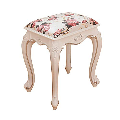 ZDY Vintage Makeup Seat/Dressing Stool/Piano Chair/Square Footstool/Padded Bench Chair, Plastic Steel Legs/Upholstered, for Dressing Room/Living Room/Bedroom.