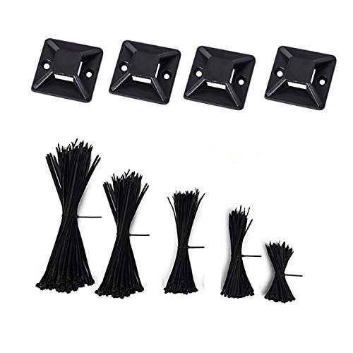 Nylon Cable Zip Ties - 4 6 8 10 12 Inches,500pcs with 50pcs Self Adhesive Cable Zip Tie Mounts for Home Ofiice Workshop by LanGui (Image #6)