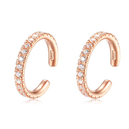 (Sterling Silver Ear Cuffs No Piercings Non Pierced Cuff - Set of 2 [18K Rose Gold Plating])