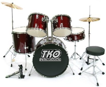 (TKO 424 5-Piece Drum Set with Cymbals, Drum Throne & Bass Pedal; Color Wine Red)