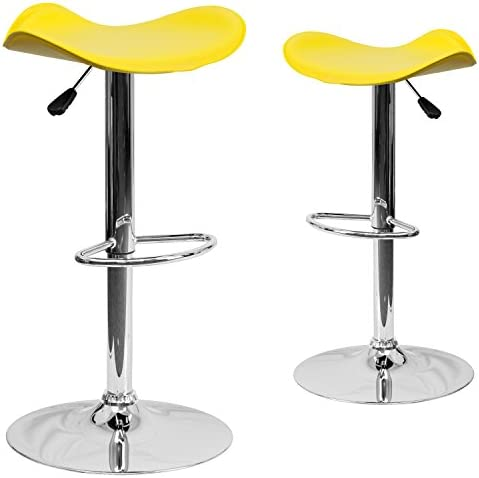Flash Furniture 2 Pk. Contemporary Yellow Vinyl Adjustable Height Barstool with Wavy Seat and Chrome Base, 2-CH-TC3-1002-YEL-GG
