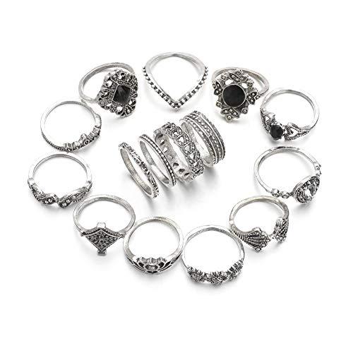 (SL SweetLove 15 Pcs Vintage Flower Knuckle Ring Set Bohemian Retro Black Rhinestone Joint Knuckle Nail Mid Ring Finger Rings Set)