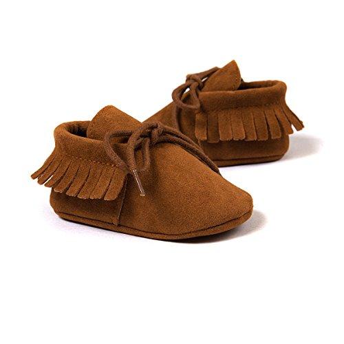 Auxma Moda Bebé niña cuna borlas vendaje suave único Casual zapatos niño Zapatillas marrón
