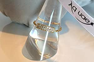 Ring with two lines of diamond on 18k gold