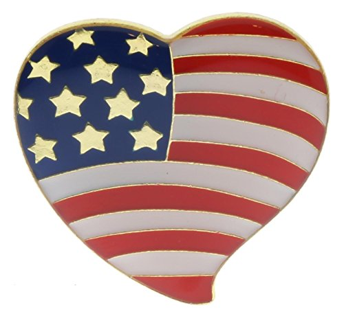 USA Flag American Red White Blue Heart 1 Inch Hat or Lapel Pin RAMHP4865 D214 ()