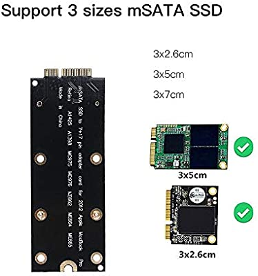 Docooler Tarjeta adaptadora mSATA SSD a 7 + 17Pin para Apple ...