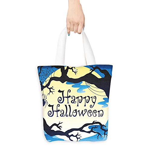 Canvas Tote Bag Halloween Decorations Collection Happy Halloween Quote Spooky Night Moon and Branches Shadows Haunted Lights Yellow Black (W15.75 x L17.71 Inch)]()