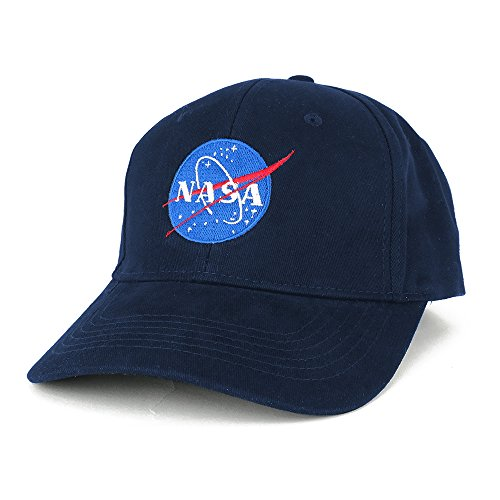 NASA Insignia Logo Embroidered 100% Deluxe Cotton Cap (One Size, Navy)