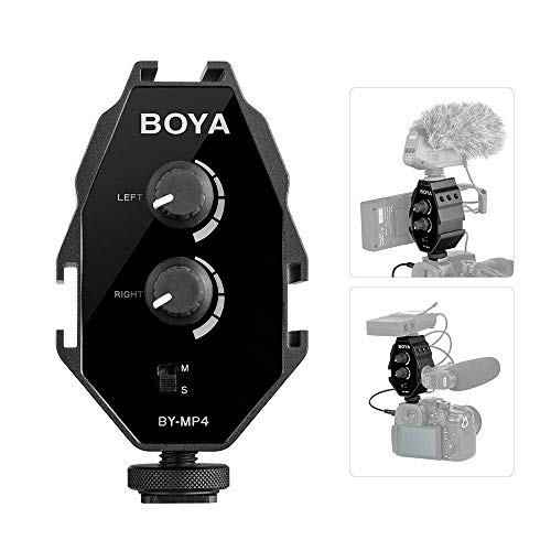 New BOYA by-MP4 2-Channel Audio Adapter Video Mixer Compatible with Canon Nikon Sony Panasonic DSLR Camera Camcorder iOS iPhone 8 7 7 Plus Samsung Galaxy Huawei Android Smartphone