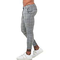 Men Twill Pants Slim Fit Casual Plaid Skinny Pants for Men Fashion Grey 32