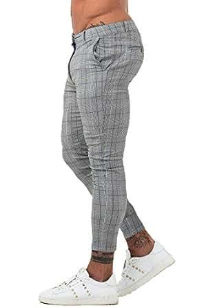 GINGTTO Mens Chinos Slim Fit Stretch Flat-Front Skinny Dress Pants Grey Plaid - Grey - 28