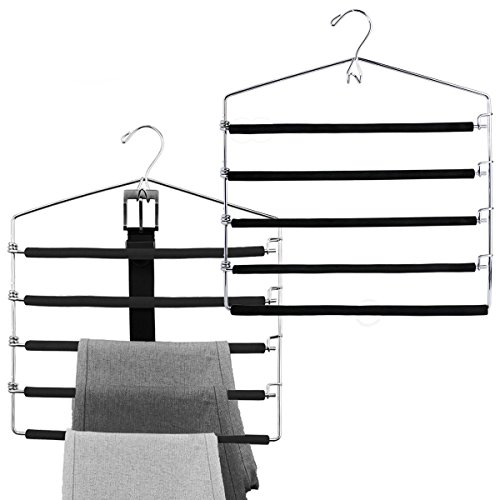 SharPlus Non-slip Foam Padded Pants Slacks Hangers Closet Storage Organizer Space Saver,5 Tiered Swing Arms Trousers Jeans Hanger With Belt Hook,Chrome Metal Finish,Set of 2,Black -