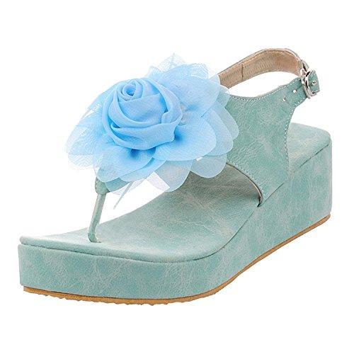Azbro Mujer Sandalias de Tacón Cuña Adorno de Flores Puntera de Clip Azul