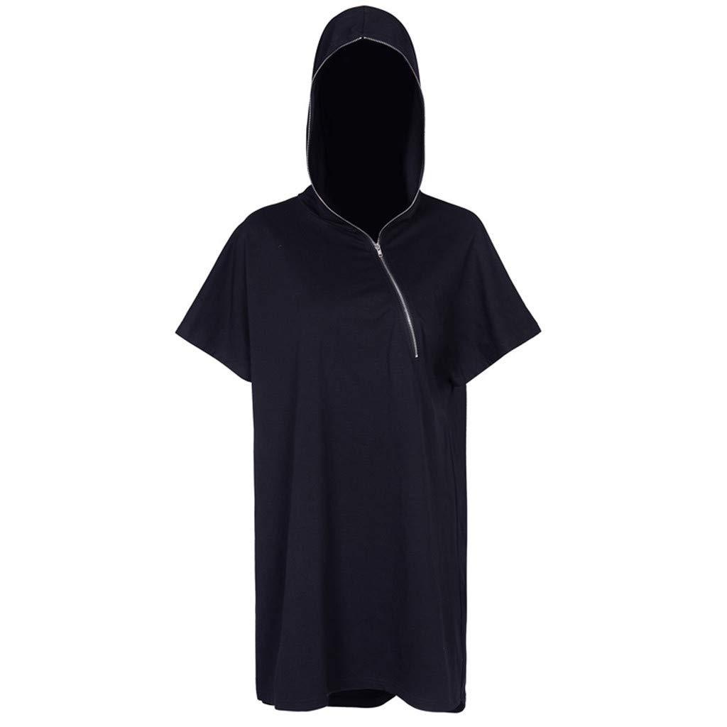 Sttech1 Women Hot Street Gothic Punk Black Oblique Zipper Short Sleeve Hooded Loose Short Dress