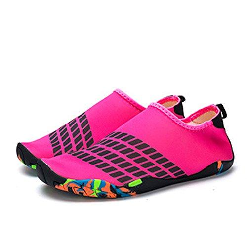 Cool&D Unisex Aquaschuhe Aqua Schuhe Wasserschuhe Atmungsaktiv Strandschuhe Schwimmschuhe Badeschuhe Surfschuhe für Damen Herren Kinder Rose