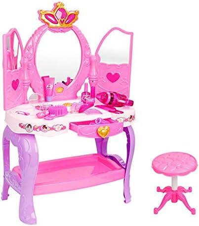 子ども知育玩具 ミラー化粧品でプリンセスメイクアップ表と女の子の化粧テーブルを再生します 家族と親子関係を強化する (色 : ピンク, Size : 70*31*55cm)