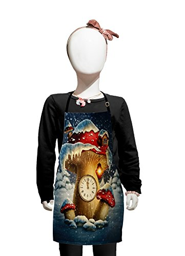 Lunarable Fantasy Kids Apron, Mushroom House Clock and a Lamp Snow Covered Fairytale Landscape Magical, Boys Girls Apron Bib with Adjustable Ties for Cooking Baking and Painting, White Red Pale Brown]()