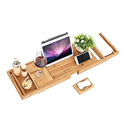 SONGMICS Extendable Bathtub Tray Caddy Bamboo Wood Bathroom Organizer with Adjustable Extending Sides Rack for Wine Books iPad Phone Free Soap Holder