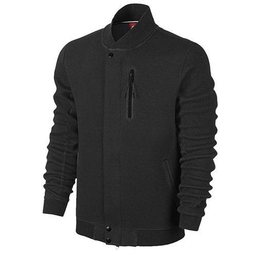 Men's Nike Tech Varsity 3MM Jacket Black Heather/Black 614379-032 Size XL