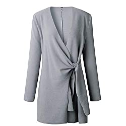 Huntty Woolen Blend Thin Coats Women V Neck Lace Up Solid Outwear Long Autumn Casual Overcoats Jacket X Large Gray
