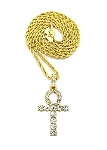 Pave Key (MENS ICED OUT MICRO PAVE EGYPTIAN ANKH CROSS (KEY OF LIFE) PENDANT ROPE CHAIN 18