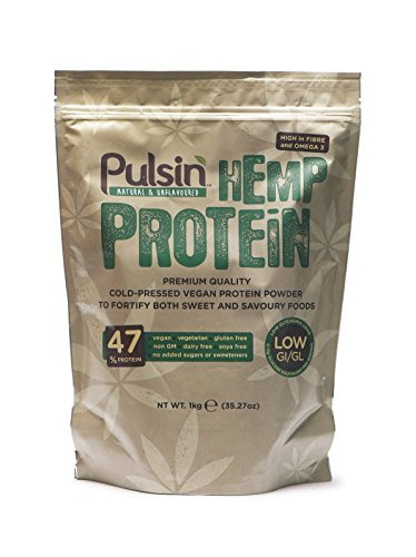 Pulsin' Unflavoured Hemp Protein Powder 1kg | 47% Protein | Natural |Vegan | Gluten Free | Soya Free | Dairy Free by Pulsin' Snacks by Pulsin' Snacks