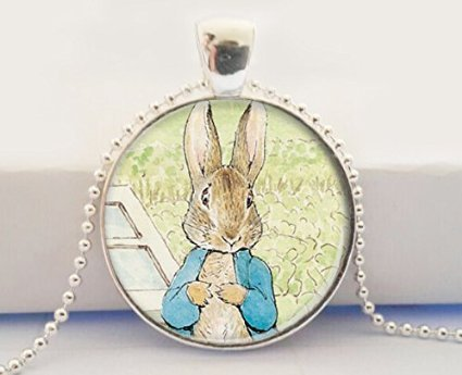 Peter Rabbit Pendant Bunny Necklace Peter Rabbit Glass Dome Pendant Necklace