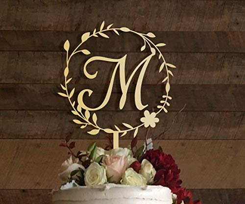 KISKISTONITE M Cake Topper, Rustic Wedding Cake Topper, Initial Cake Topper, Monogram Cake Topper M, Floral Design Cake Decorating Party - Topper Cake Black Monogram