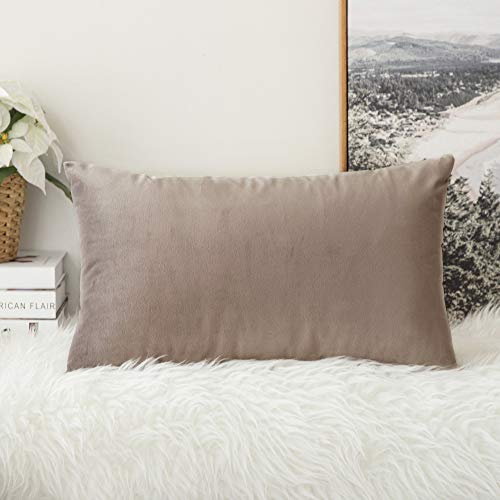 MIULEE Velvet Soft Solid Decorative Square Throw Pillow Covers Cushion Case for Sofa Bedroom Car 12 x 20 Inch 30 x 50 cm Mix Pink Grey