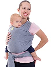 KeaBabies Baby Wrap Carrier All-In-1 Stretchy Baby Wraps - Baby Carrier - Infant Carrier - Baby Wrap - Hands Free Babies Carrier Wraps - Baby Shower Gift - One Size Fits All (Classic Gray)