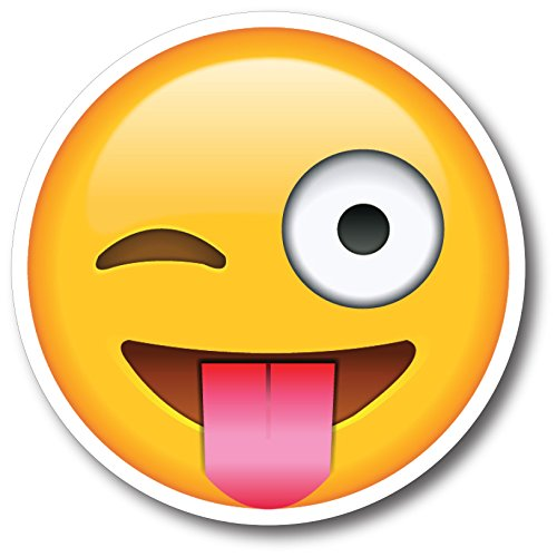 Wink Tongue Out Emoji Magnet Decal Perfect for Car or Truck]()
