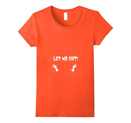 Pregnant Lady Halloween Costumes Ideas (Womens Let me out Halloween Costume Idea T-shirt for Pregnant Women Large Orange)