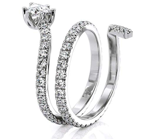 Jewlery By Bruno Pear shape Natural Anniversary Diamond Band Snake Ring in 18k Solid White Gold (1.20 -