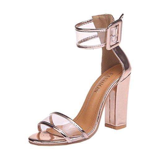 solido fibbia alto tacco Longra moda scarpe donna Oro Colore sandali artificiale pelle caviglia p55BSgqx