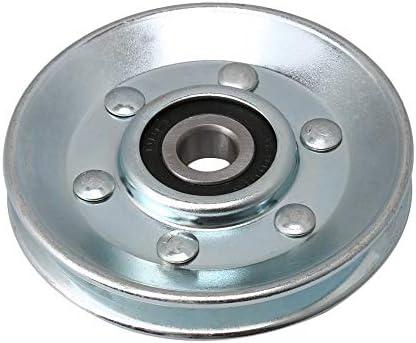CNBTR Silberfarbenes Eisenkugellager Stahlseilrolle V-Form Rillenlager Riemenscheibe für Industrieausrüstung