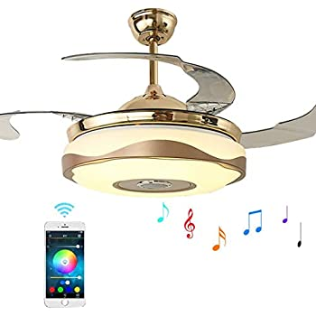 42 Inch Ceiling Fan Chandelier Lights With Bluetooth