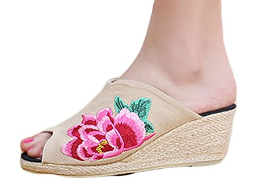 AvaCostume Womens Chinese Peony Fashion Platform Wedges Slippers Beige tgR9wwGo